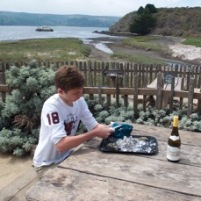 Shucking oysters on Tamales Bay