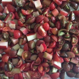 ready to roast: chopped rhubarb and cherry tomatoes